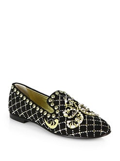 Giuseppe Zanotti - Embellished Suede Smoking Slippers