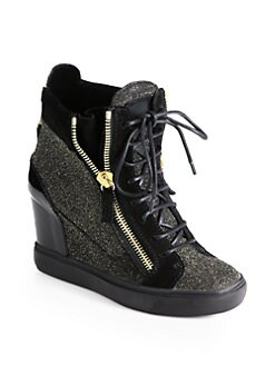 Giuseppe Zanotti - Glitter & Suede Lace-Up Wedge Sneakers