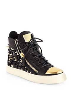 Giuseppe Zanotti - Gem Studded Leather High-Top Sneakers