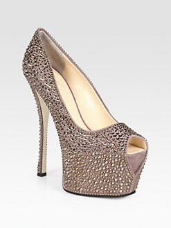 Giuseppe Zanotti - Crystal-Coated Suede Platform Pumps