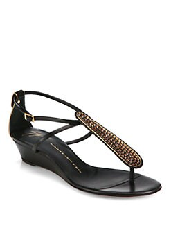 Giuseppe Zanotti - Crystal-Coated Leather T-Strap Wedge Sandals