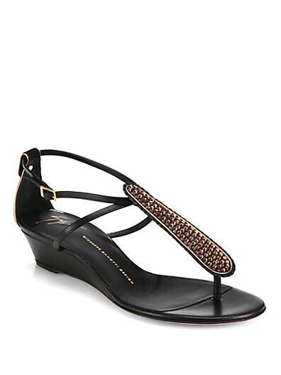 Crystal-Coated Leather T-Strap Wedge Sandals
