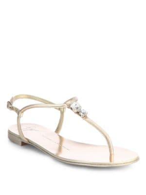 Jeweled Metallic Leather Thong Sandals