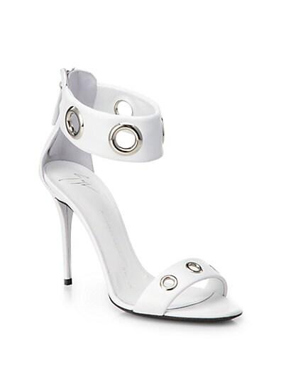 Leather Grommet Ankle-Strap Sandals