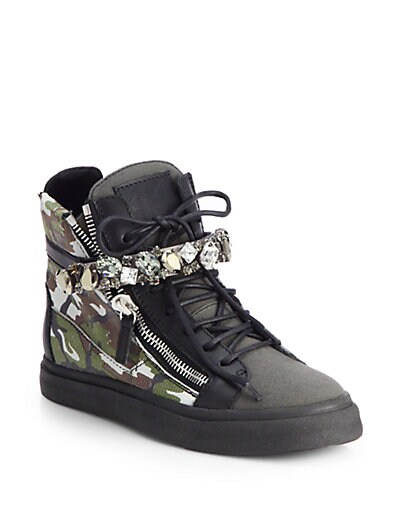 Jeweled Camouflage Leather Wedge Sneakers