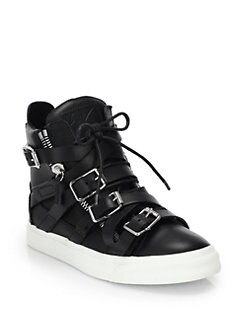 Giuseppe Zanotti - Leather Buckle High-Top Sneakers