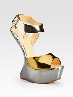 Giuseppe Zanotti - Metallic Patent Leather Curved-Wedge Sandals