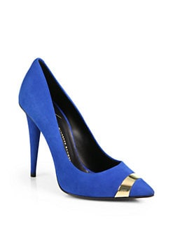 Giuseppe Zanotti - Suede & Lacquered Point-Toe Pumps