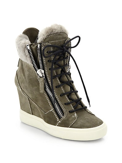 Suede Platform Wedge Sneakers