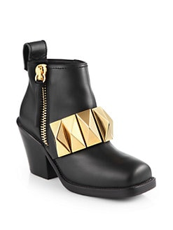 Giuseppe Zanotti - Leather Metal-Detail Ankle Boots