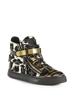 Giuseppe Zanotti - Leopard-Print Calf Hair & Leather Lace-Up Sneakers