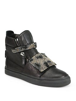 Giuseppe Zanotti - Crystal-Coated Leather High-Top Sneakers