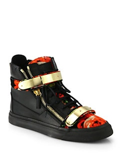 Giuseppe Zanotti - Floral-Print Calf Hair High-Top Sneakers