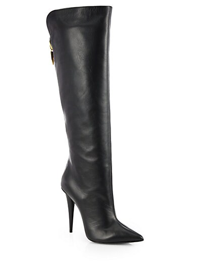 Tall Point-Toe Leather Boots