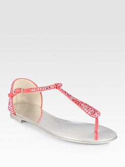Giuseppe Zanotti - Crystal-Coated Suede Thong Sandals