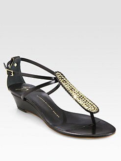 Giuseppe Zanotti - Dore Crystal-Coated Leather Wedge Sandals