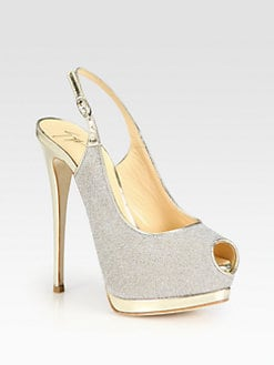 Giuseppe Zanotti - Glitter & Metallic Leather Slingback Pumps