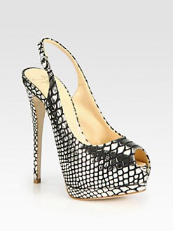 Giuseppe Zanotti - Snake-Print Metallic Leather Slingback Pumps