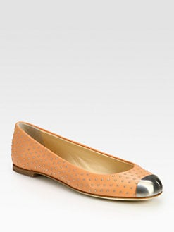 Giuseppe Zanotti - Studded Leather Metal-Detail Ballet Flats