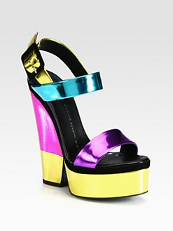 Giuseppe Zanotti - Metallic Leather Trimmed Platform Sandals