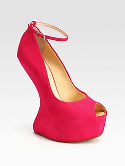 Giuseppe Zanotti - Suede Ankle Strap Curved-Wedge Pumps