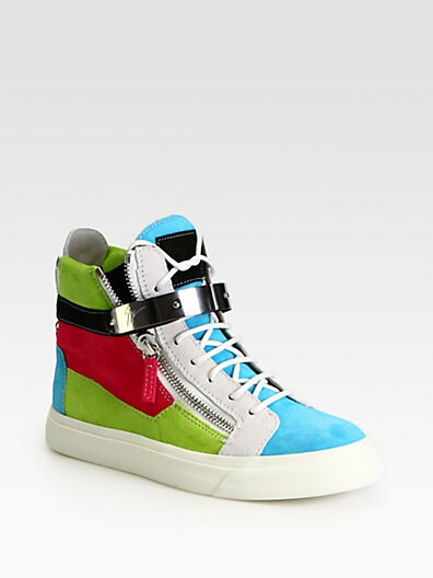 Colorblock Suede Wedge Sneakers