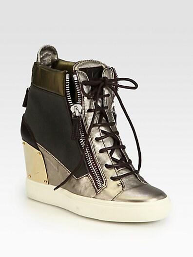 Alba Canvas  Metallic Leather Wedge Sneakers