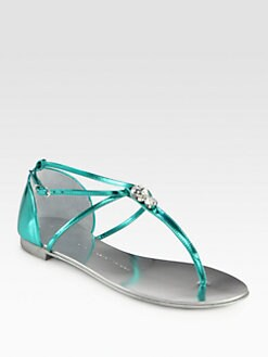 Giuseppe Zanotti - Metallic Leather Rhinestone-Detail Thong Sandals