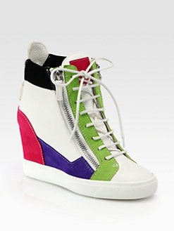 Giuseppe Zanotti - Colorblock Leather & Suede Wedge Sneakers