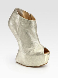 Giuseppe Zanotti - Metallic Leather Curved-Wedge Platform Ankle Boots