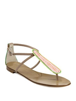 Giuseppe Zanotti - Leather Crystal-Embellished Thong Sandals
