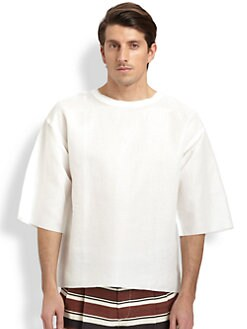 Dolce & Gabbana - Distressed-Trim Cotton & Linen Top