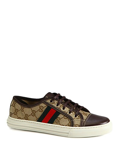 GG Canvas  Leather Lace-Up Sneakers