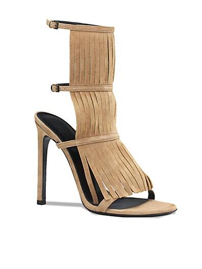 Suede Fringe Ankle-Strap Sandals