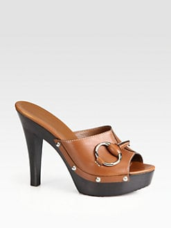 Gucci - Horsebit Leather Platform Clogs