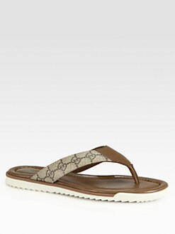 Gucci - GG Leather Thong Sandals