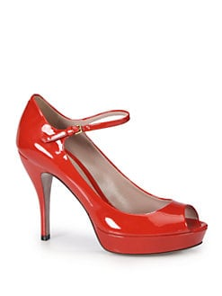 Gucci - Lisbeth Patent Leather Mary Jane Platform Pumps