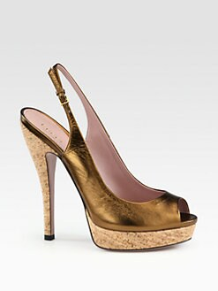 Gucci - Lisbeth Metallic Leather Platform Slingback Pumps