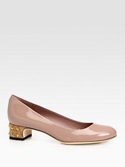 Gucci - Jacquelyne Patent Leather Studded Cork Pump