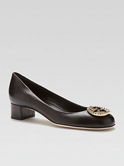 Gucci - Leather Interlocking Pumps