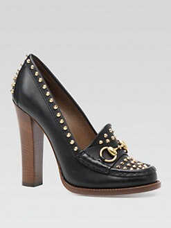 Gucci - Studded Leather Loafer Pumps