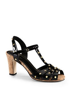 Gucci - Jacquelyne Studded Patent Leather Sandals