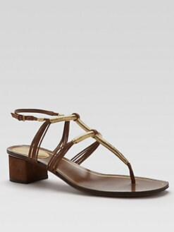 Gucci - Anita Metallic Leather & Suede Thong Sandals