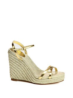 Gucci - Lia Metallic Leather Espadrille Wedges