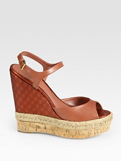 Gucci - Hollie Mixed Media Logo-Embossed Wedge Sandals