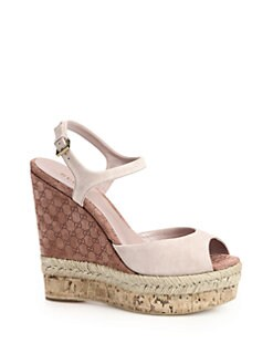 Gucci - Hollie Suede Cork Wedge Sandals