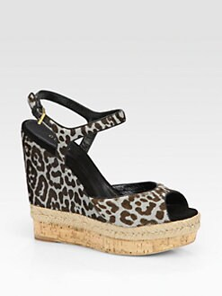 Gucci - Leopard-Print Calf Hair Espadrille Wedges