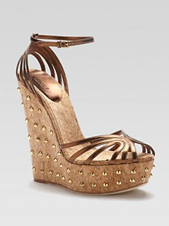 Gucci - Cecyl Metallic Leather Studded Wedges