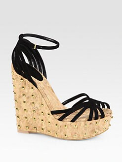 Gucci - Suede Studded Cork Wedge Sandals