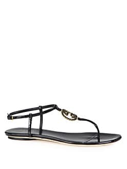 Gucci - Jeweled GG Patent Leather Sandals